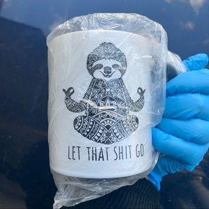 NWT funny novelty yoga sloth mug